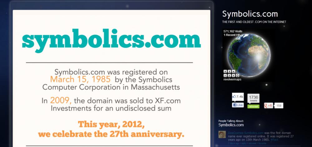 15/03/1985 - Tên miền - Tập đoàn Symbolics Computer Corporation đăng kí tên miền đầu tiên trên mạng Internet, symbolics.com. Trang web này hiện thuộc quyền sở hữu của một nhóm đầu tư quy mô nhỏ ở Irvine, California và được dành cho việc tìm kiếm số liệu thống kê đăng kí tên miền.