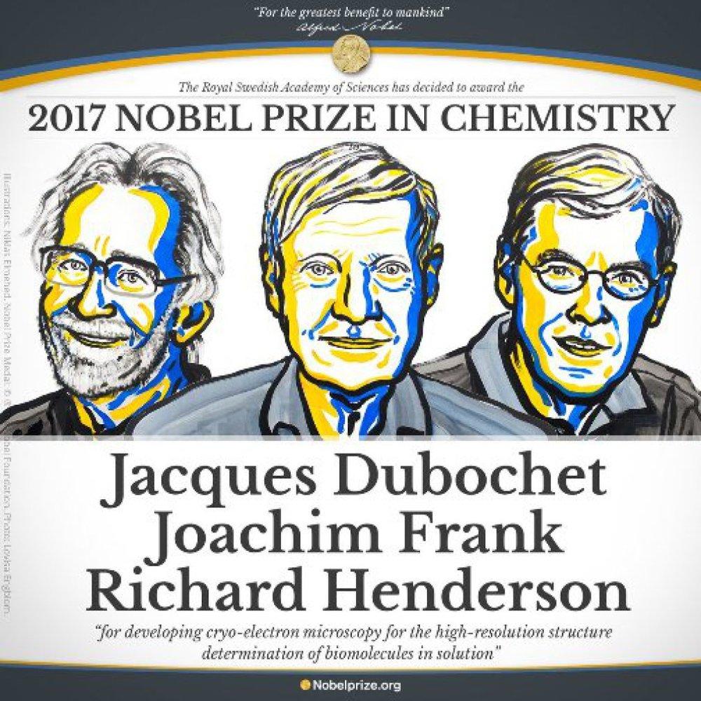 3 nhà khoa học đạt giải Nobel Hóa học năm 2017. Ảnh:Nobel Prize.