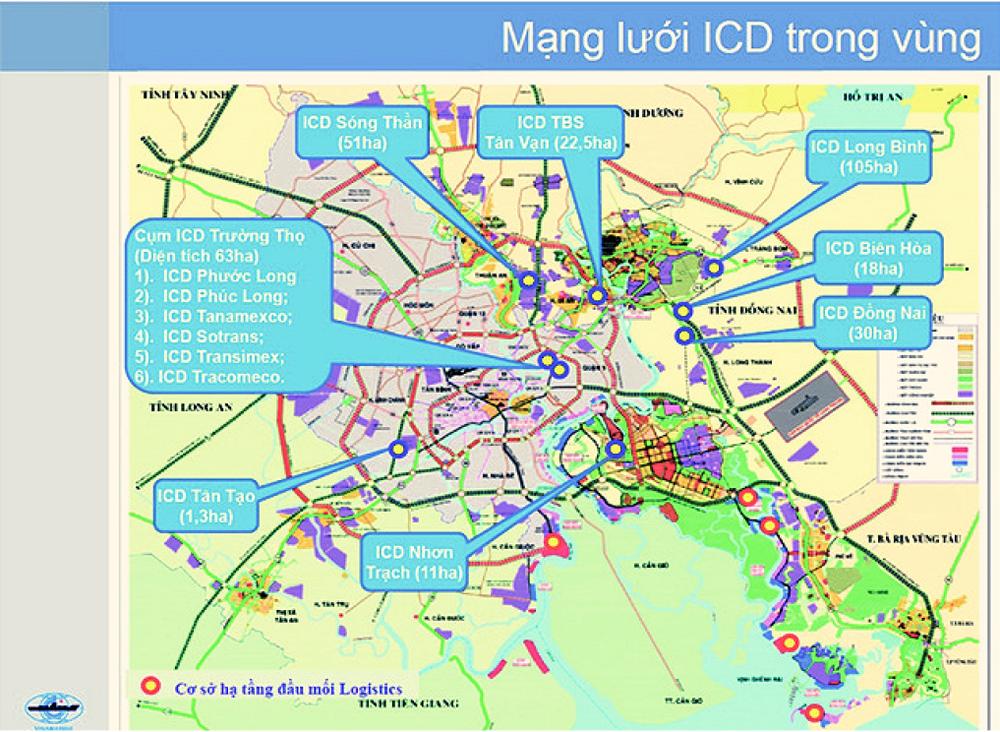 Bản đồ hiện trạng các cảng ICD (cảng trung chuyển) trong vùng nhóm cảng biển Đông Nam Bộ nhóm 5 - Nguồn: Công ty cổ phần tư vấn thiết kế cảng - kỹ thuật biển Portcoast
