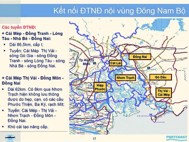 Bản đồ hiện trạng kết nối tuyến đường thủy nội địa trong vùng nhóm cảng biển Đông Nam Bộ nhóm 5 - Nguồn: Công ty cổ phần tư vấn thiết kế cảng - kỹ thuật biển Portcoast