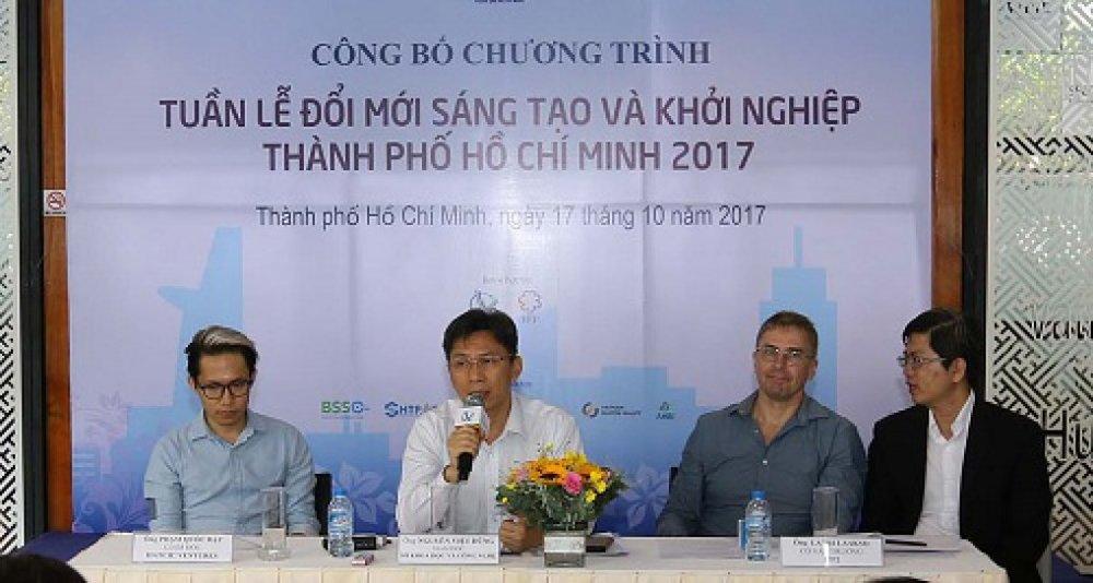 Ông Nguyễn Việt Dũng cùng đại diện IPP2 vàHatch! VENTURES giải đáp các câu hỏi của phóng viên tại buổi họp báo sáng 17/10.