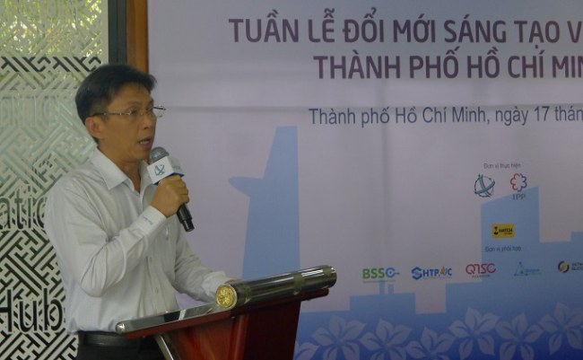 Ông Nguyễn Việt Dũng phát biểu giới thiệu Tuần lễ Đổi mới sáng tạo và khởi nghiệp Thành phố Hồ Chí Minh năm 2017
