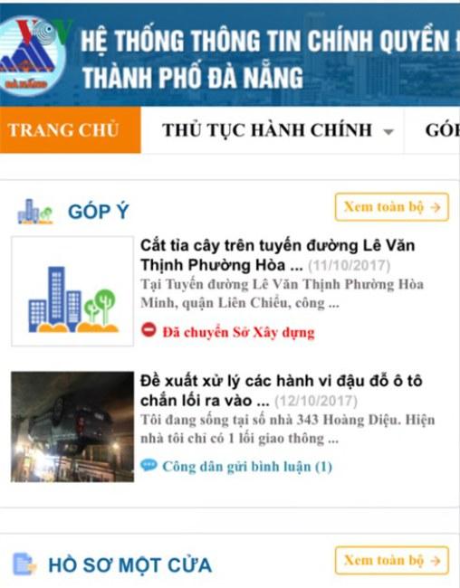Hệ thống thông tin Chính quyền điện tử Đà Nẵng (egov.danang.gov.vn).