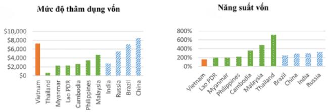 Hình 2: So sánh mức độ thâm dụng vốn và năng suất vốn của các doanh nghiệp Việt Nam với khu vực và các nước BRIC.