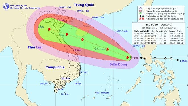 2. Bão số 10 - Đây là cơn bão mạnh nhất năm 2017, gây ảnh hưởng nghiêm trọng cho vùng Bắc Trung Bộ nước ta.