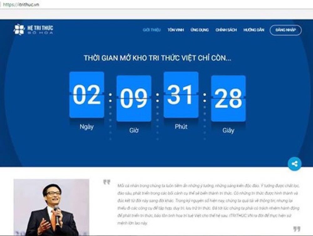 Chỉ còn hơn 2 ngày nữa, sáng ngày 1/1/2018, Hệ tri thức Việt số hóa sẽ chính thức được khởi động và kho tri thức Việt số hóa cũng sẽ được mở để cộng đồng cùng tham gia đóng góp (Ảnh chụp giao diện website iTrithuc.vn)