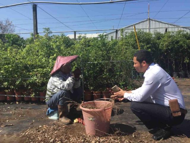 Nông dân xuất sắc Nguyễn Đăng Cường (Bắc Ninh) trò chuyện và tìm hiểu về mô hình trồng hoa và dược liệu tại Trung tâm Nghiên cứu dịch vụ giống cây trồng Đại Nam ở TP.Đài Trung, Đài Loan.