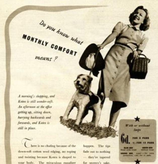 Mẫu quảng cáo băng vệ sinh đời đầu của công ty Kimberly-Clark - Ảnh: Alamy