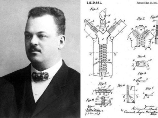 Gideon Sundback và mẫu phác thảo dây kéo - Ảnh: Wikipedia Commons