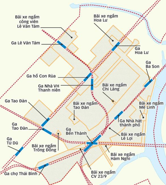Khu vực lõi 150ha ở trung tâm TP dự kiến sẽ được nghiên cứu chi tiết để xây dựng không gian ngầm - Đồ họa: TẤN ĐẠT