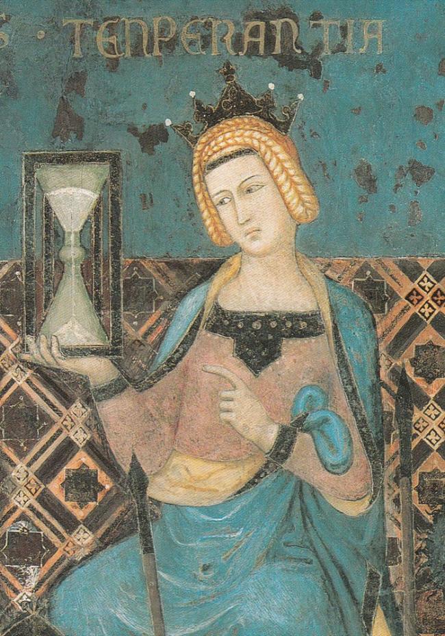 Bức tranh Biểu tượng của chính quyền hiệu quả của Ambrogio Lorenzetti năm 1338 có hình ảnh đồng hồ cát - Ảnh tư liệu