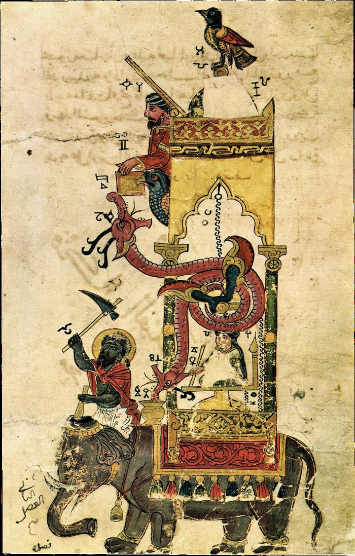 Bản vẽ mô phỏng hệ thống đồng hồ voi thời vua Al-Jazari - Ảnh tư liệu