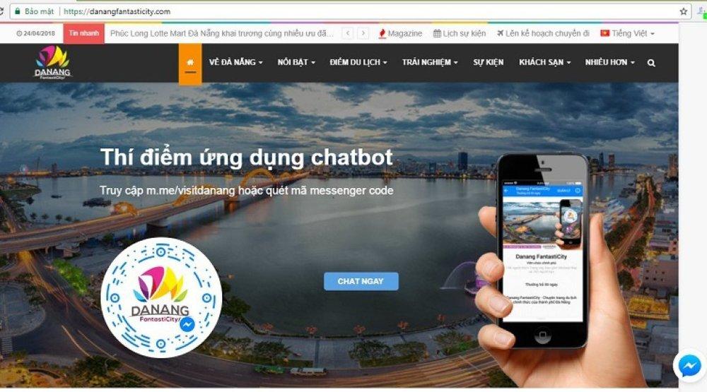 Ứng dụng chatbot giúp du khách có nhiều thông tin hữu ích. Ảnh: Chụp màn hình.
