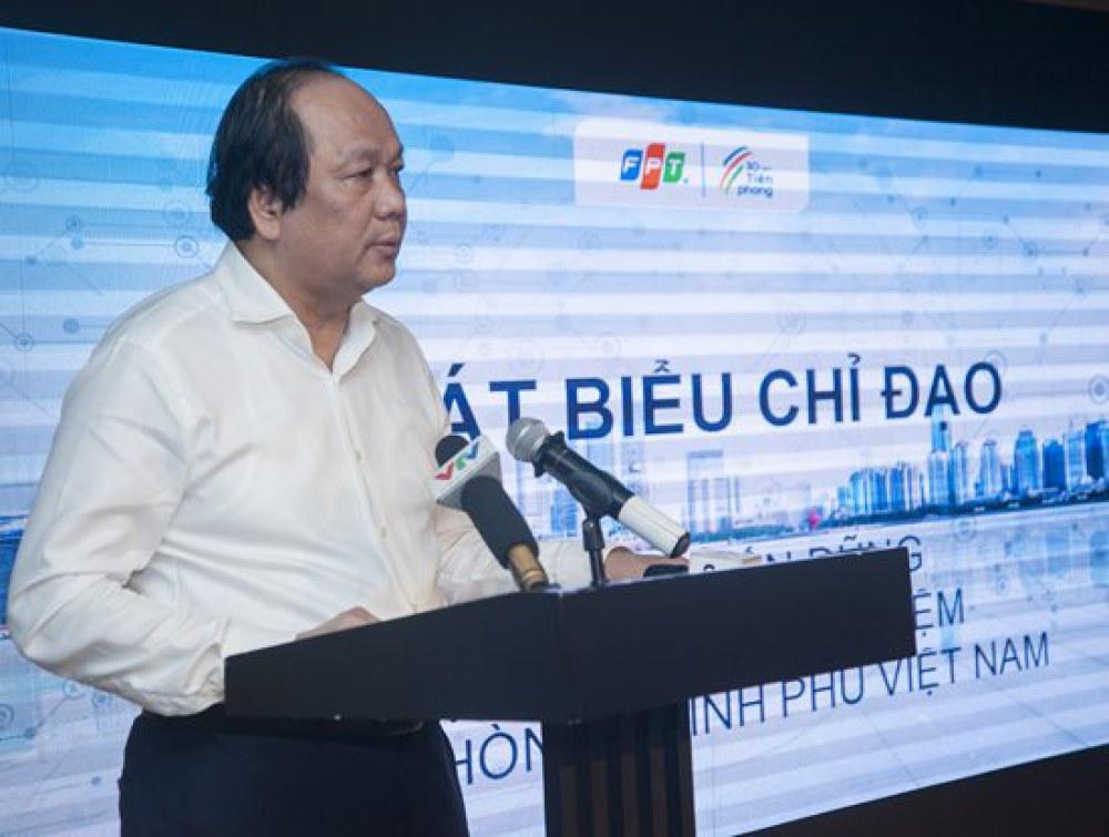 Bộ trưởng, Chủ nhiệm Văn phòng chính phủ Mai Tiến Dũng nhấn mạnh mô hình ở Quảng Ninh sẽ là nền tảng để đánh giá xây dựng mô hình Chính quyền điện tử quốc gia (Ảnh FPT cung cấp)