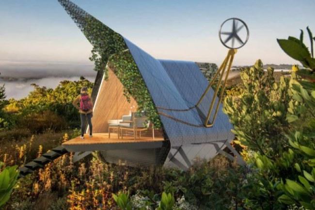Nhà in 3D sử dụng sợi carbon bền chắc cùng nhôm tái chế. Ảnh: Walden Monterey.