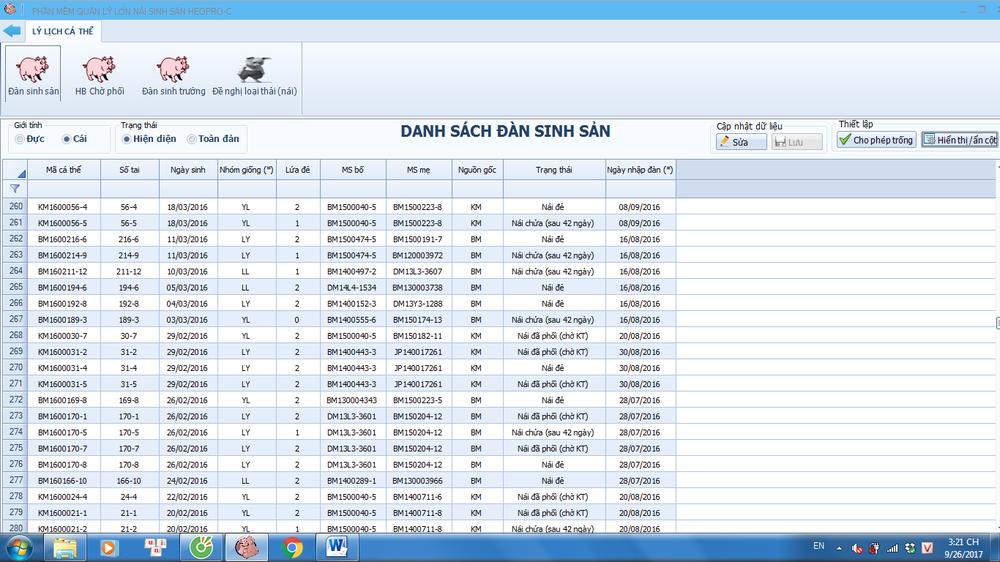 Thông tin quản lý đàn trong phần mềm