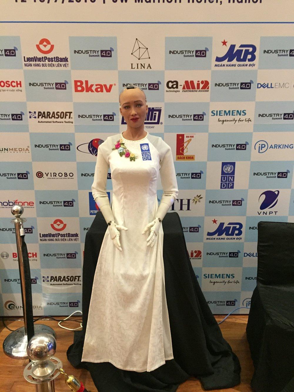 Khi xuất hiện tại Hà Nội, Sophia còn mặc một chiếc áo dài trắng truyền thống của Việt Nam.