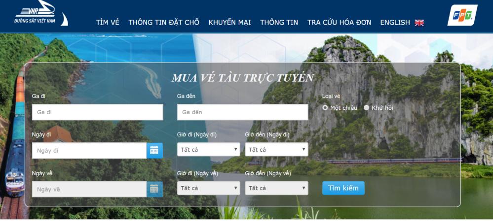 Khung mua vé của vetau.com.vn nằm ngay trang chủ