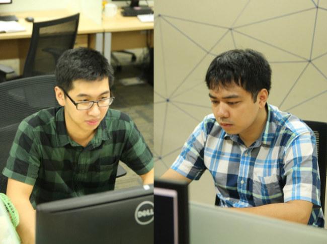 Trần Tiến Hùng (trái) và Đỗ Quang Thành (phải) vừa được Microsoft vinh danh trong danh sách top 100 cá nhân bảo mật. Ảnh: TTXVN