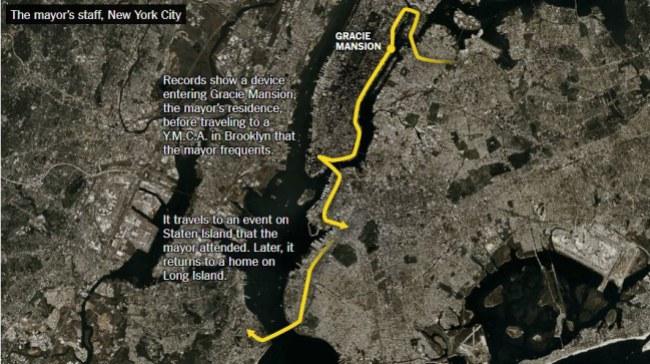 Thông tin vềthói quen di chuyển của thị trưởng thành phố New York cũng  nằm trong kho dữ liệu được các ứng dụng âm thầm thu thập.