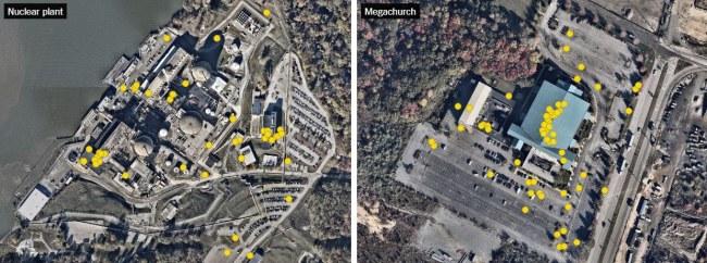 Hình bên trái là một nhà máy điện hạt nhân. Trong khi đó, tấm hình bên  phải là một nhà thờ. Các chấm vàng trong ảnh thể hiện vị trí của từng  thiết bị di động. Đây rõ ràng đều là những thông tin vô cùng nhạy cảm.