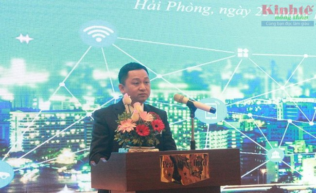 Ông Lương Hải Âu - Giám đốc Sở Thông tin và Truyền thông Hải Phòng phát biểu tại hội thảo.