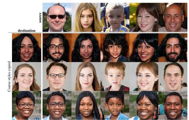 Chỉ từ vài hình ảnh gốc ở dòng trên cùng, máy tính đã tạo ra những khuôn mặt khác và chúng hoàn toàn trông như những người khác nhau có thật.