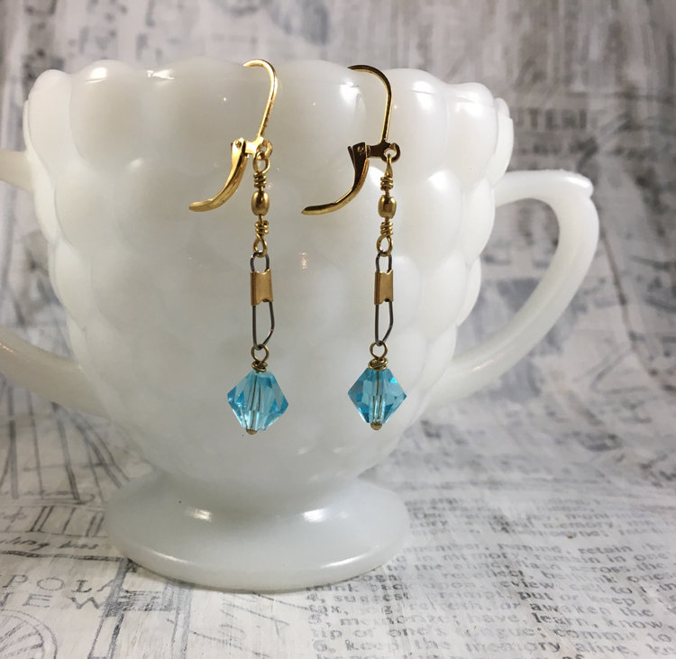 jewelry ear blue flower glass with accessories gift for earrings stud item color women gold in bridal from shape lake earring on