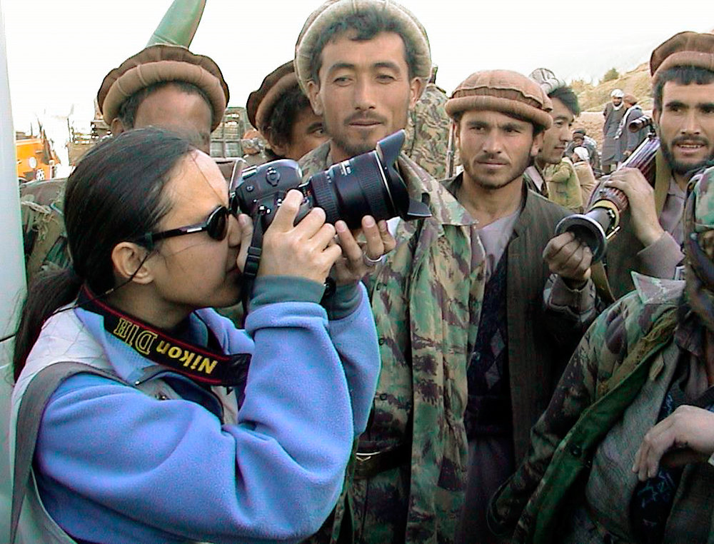 Cheryl Diaz Meyer works in northern Afghanistan with the Northern Alliance, also known as the mujaheddin, fighters who have been battling the Taliban, in October 2001.