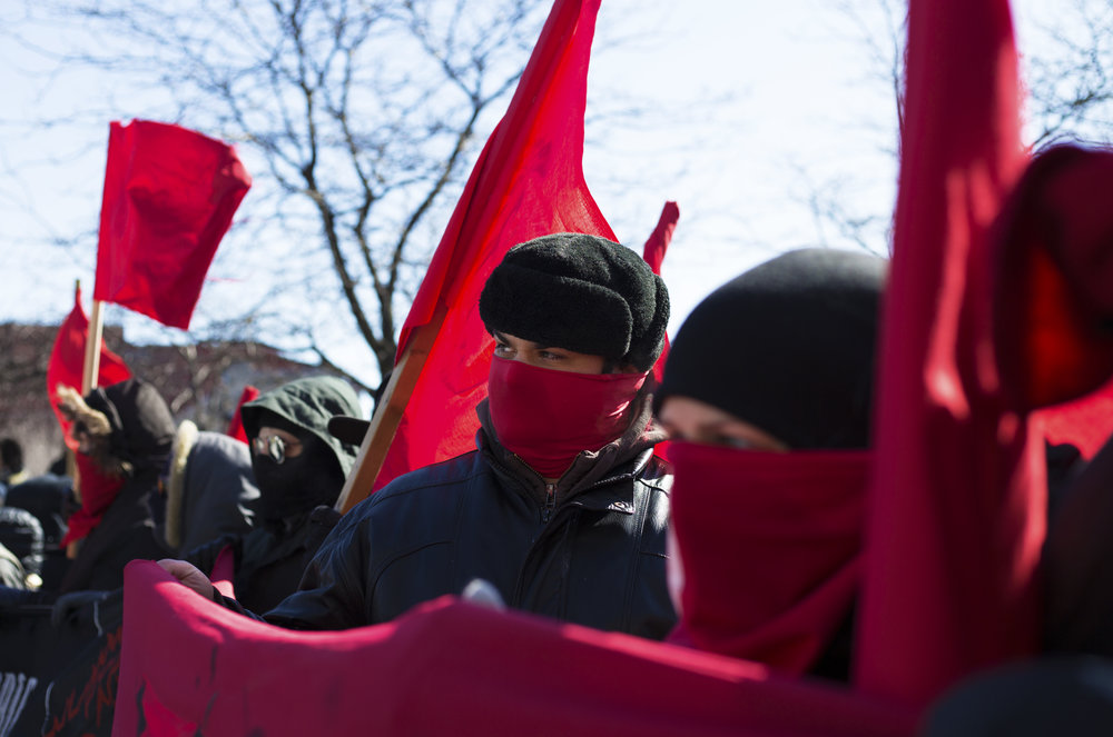 Masked protester at a demonstration against fascism (March 4 2017)