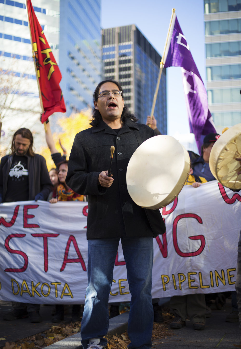 Indigenous Canadian leading a demonstration in Montreal against the proposed Dakota Access Pipeline (November 7 2016)