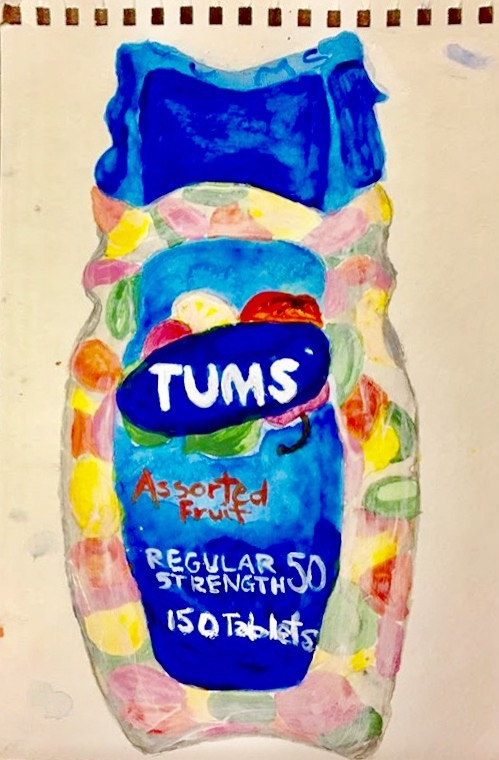 "OVER THE COUNTER SERIES: TUMS-WATERCOLOR SKETCH ON PAPER-9"" X 11""-2017 $250"