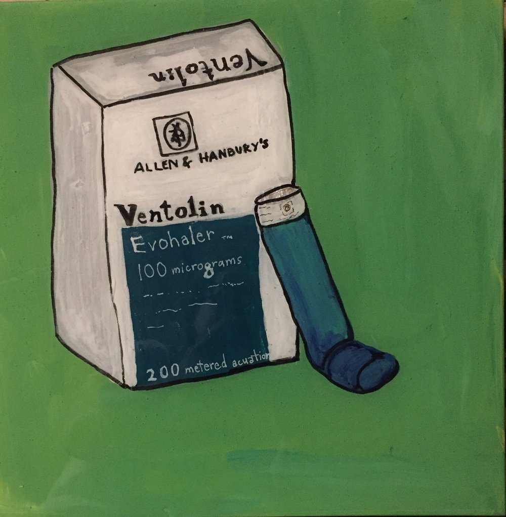 "PHARMA SERIES: VENTOLIN-ACRYLIC ON BOARD W/EPOXY RESIN-12"" X 12""-2017 $250"
