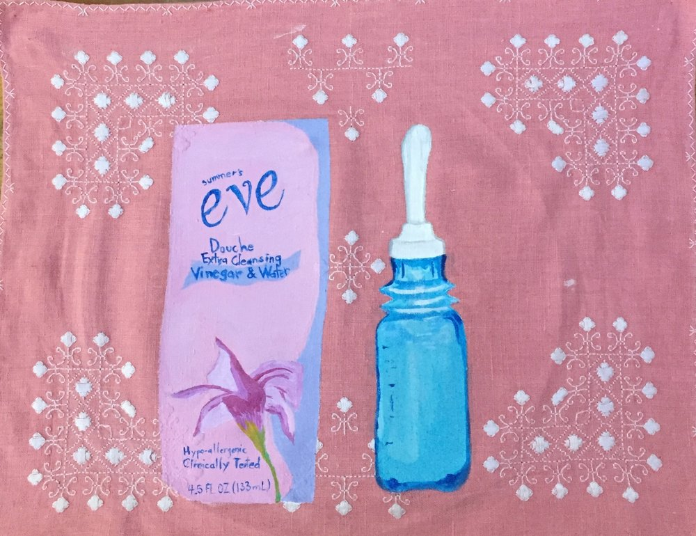 OVER THE COUNTER SERIES: SUMMER'S EVE DOUCHE-acrylic on vintage linen-2017 $750