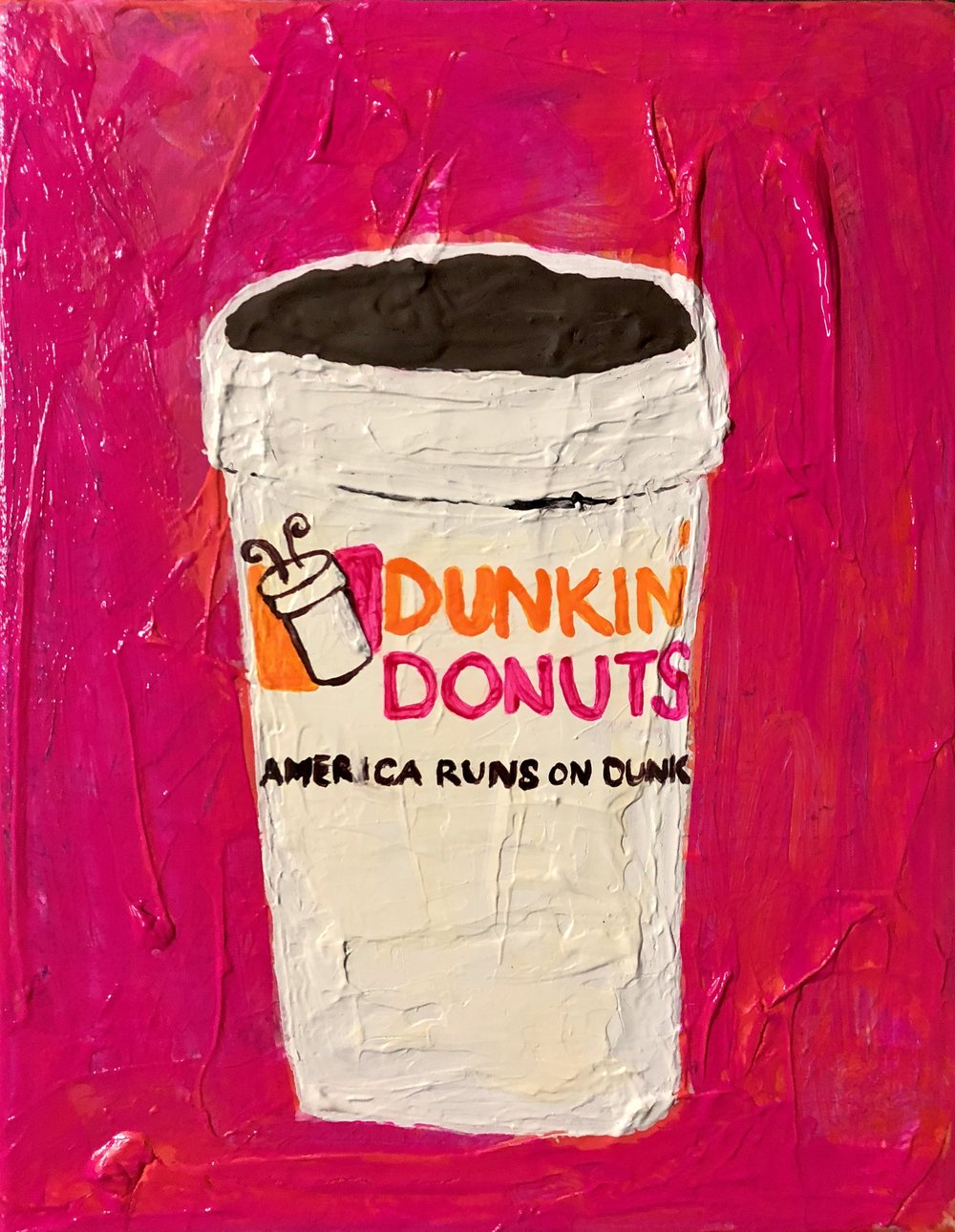 CAFFINENATED SERIES-AMERICAS RUNNING ON DUNKIN-2017-ACRYLIC ON CANVAS $250 SOLD