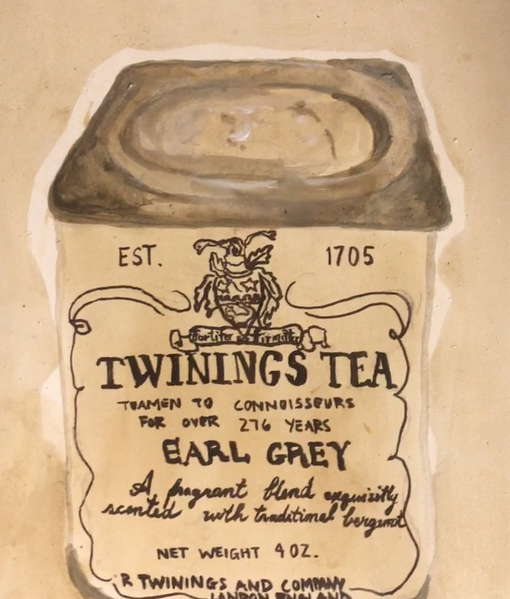 CAFFEINATED SERIES: TWININGS EARL GREY TEA-painted with brewed tea, acrylic on rabbit skin glue prepared board $400