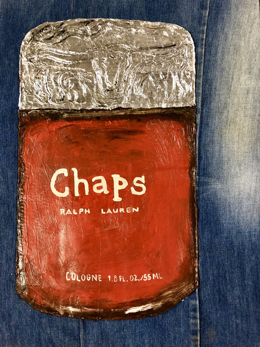 "COSMETICS SERIES-CHAPS BY RALPH LAUREN-ACRYLIC,SILVER LEAF, CARDBOARD AND DENIM-18""X 24""-2018 $800"