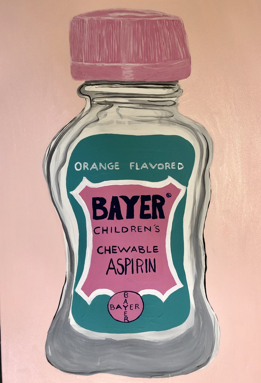 OVER THE COUNTER SERIES-BAYER BABY ASPIRIN-ACRYLIC ON CANVAS-2018 -$3000