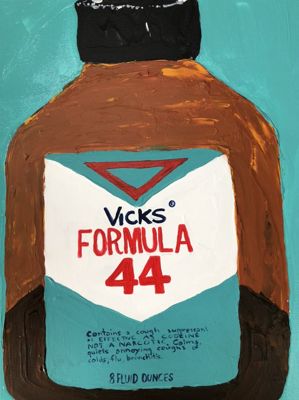"OVER THE COUNTER SERIES-VICKS FORMULA 44 COUGH SYRUP-ACRYLIC ON CANVAS IN VINTAGE FRAME-22"" X 27 1/2""-2018 $850"