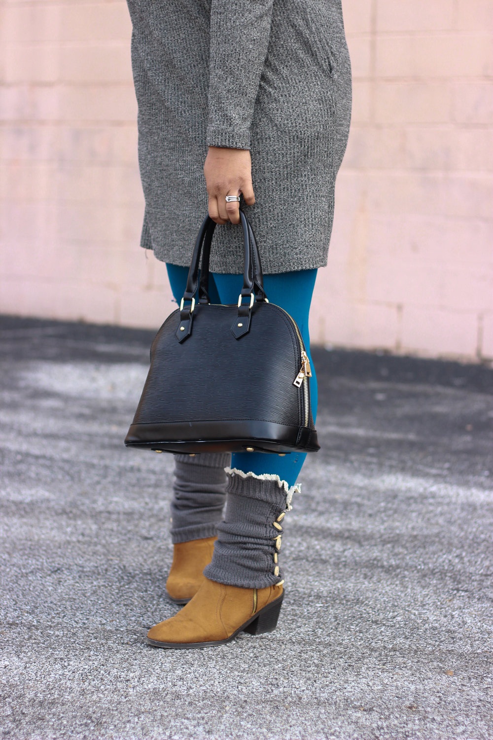 Pictured: Black Handbag, Long Gray Leg Warmers, Taupe Fringe Booties