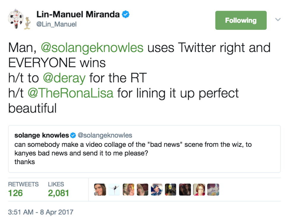 That time Lin-Manuel Miranda gave me a virtual hat tip.