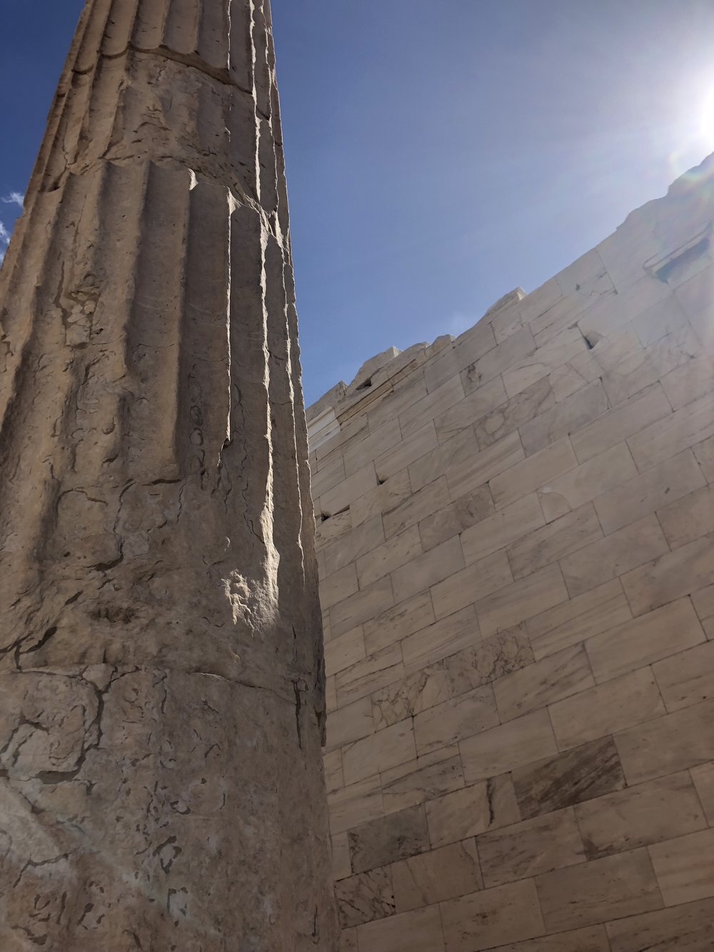Column of the Propylaea with Marble Wall in Background