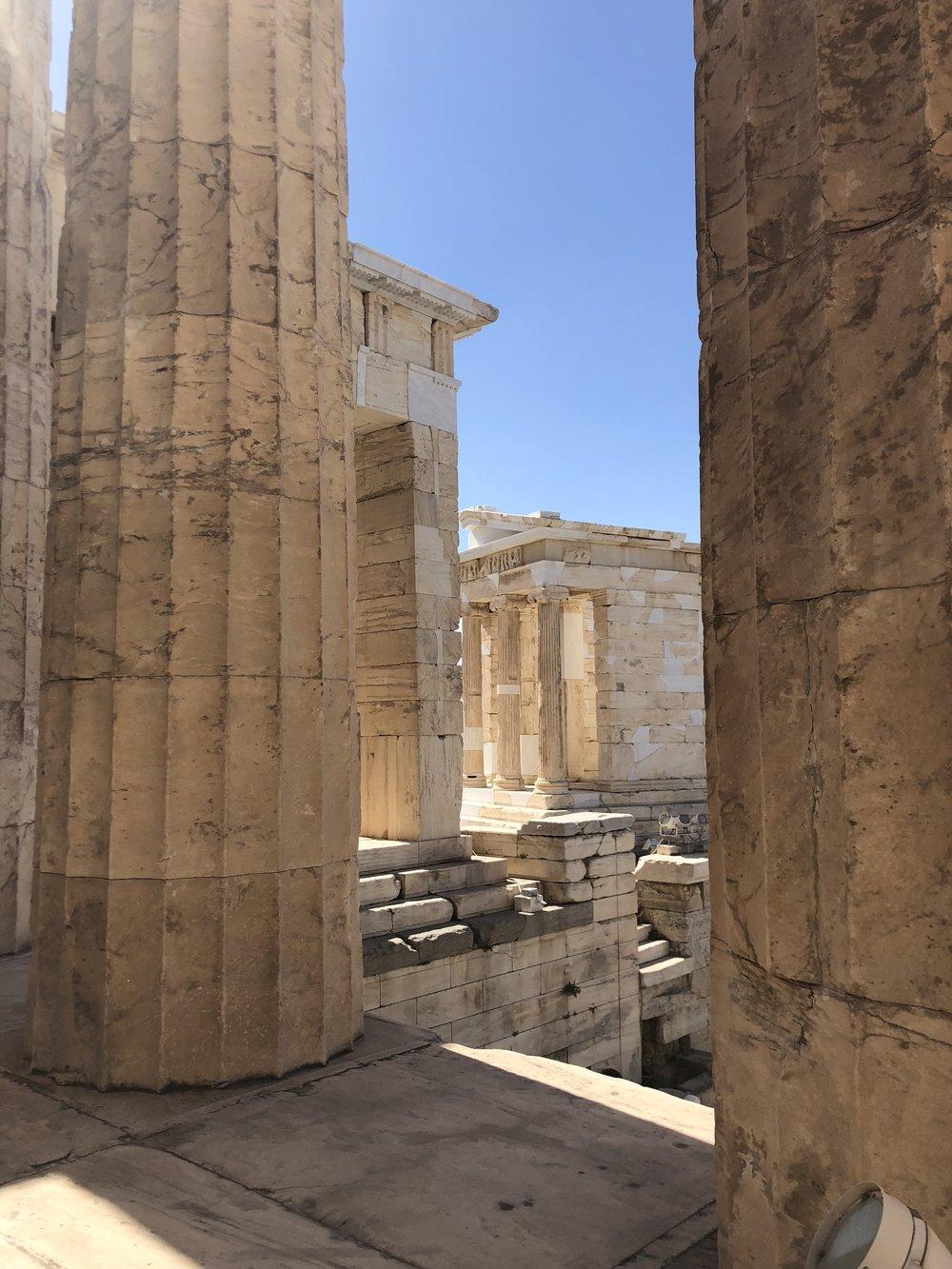 View of the Sanctuary of Athena Nike through the Propylaea's Entranceway