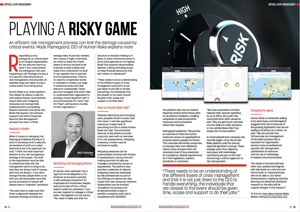 Article about Human Risks in this month's  International Security Journal