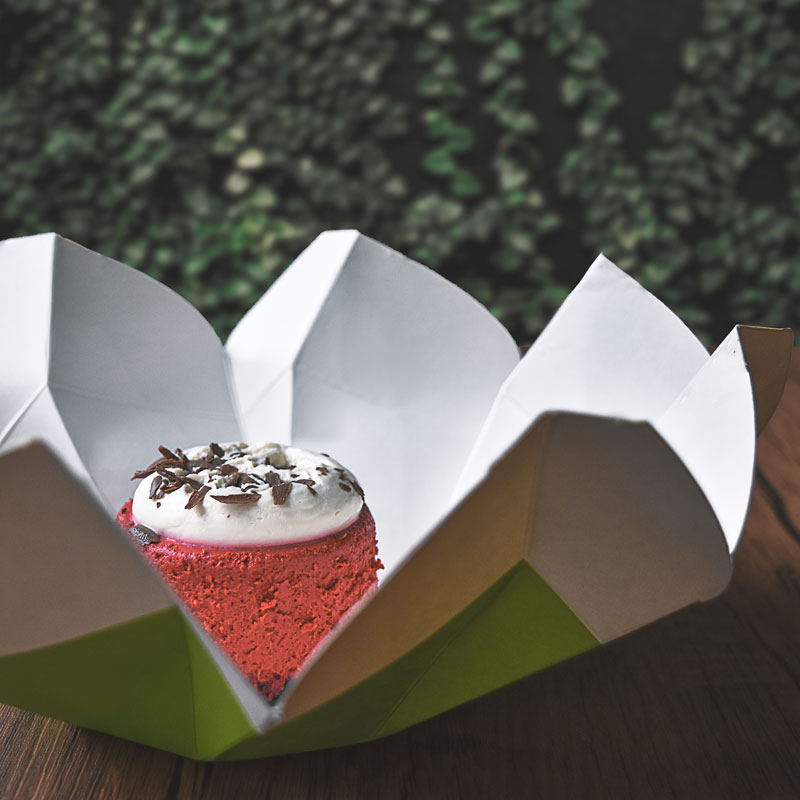 red velvet cheese cake in magnolia packaging