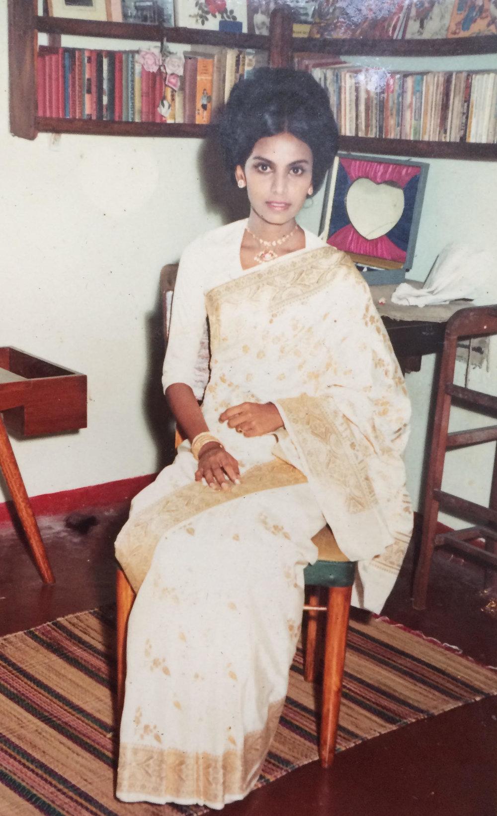 My mother looking exquisite in her wedding dress