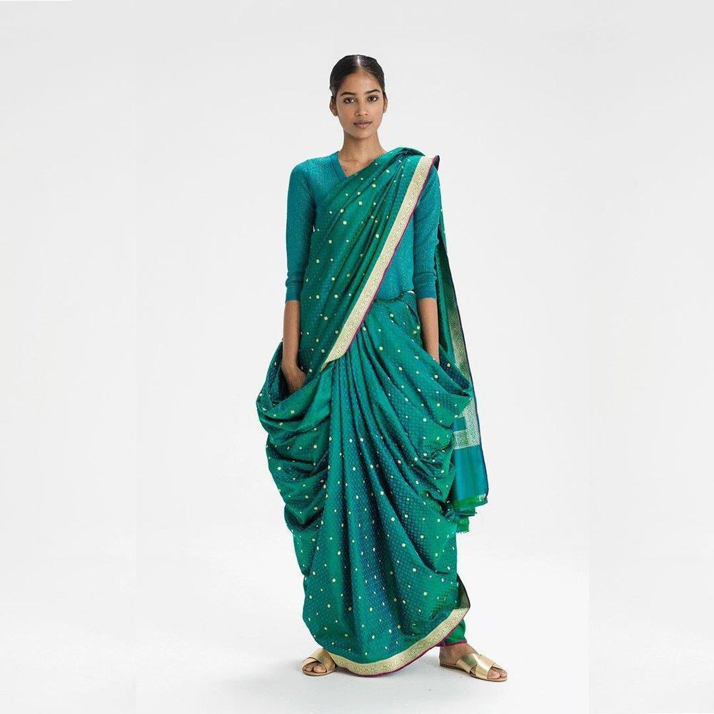 Boggili Posi Kattukodam sari drape from Andhra Pradesh, India