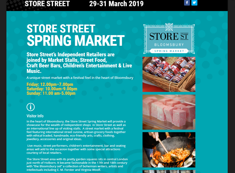 Sunday 31st March 1pm - Live at Store Street Spring Market