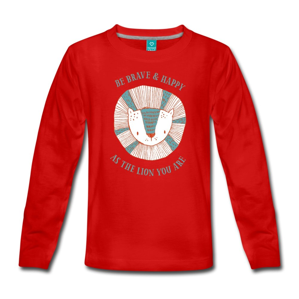 Röd långärmad premium t-shirt med lejonmotiv 249 kr