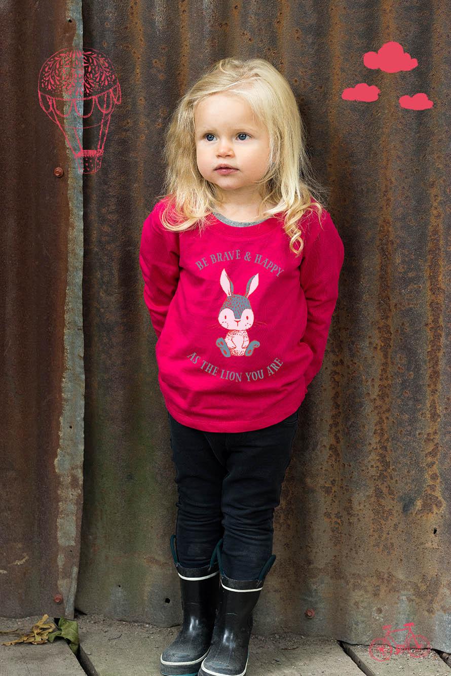 Gullig luvtröja med kanintryck